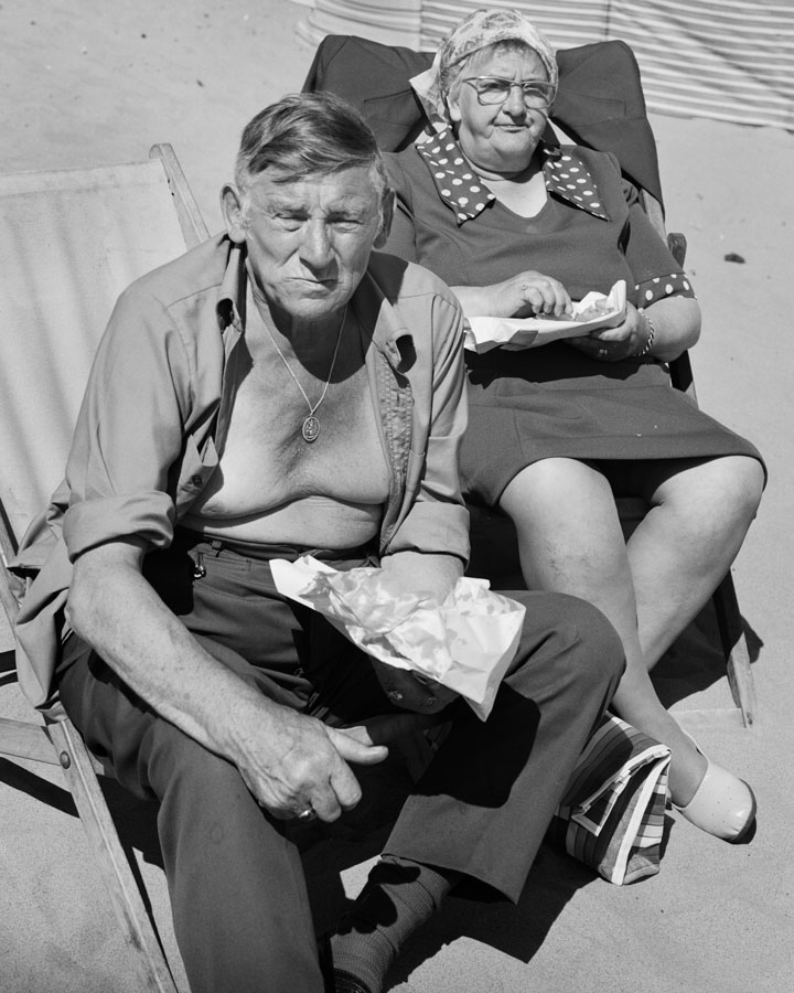 Couple eating fish and chips, Whitley Bay 1976